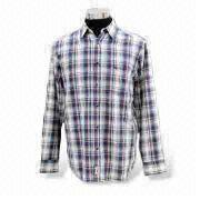 Men's casual shirts ,YD fabric Long sleeves with cuff ,Fashionable plaid combo
