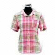 Women's shirts yarn-dyed fabric With lapel collar, short sleeves and cuff